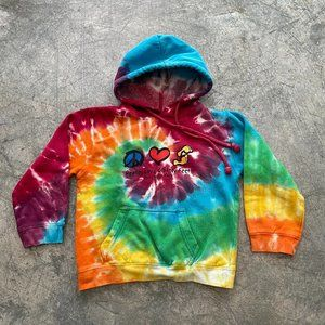 Vtg New York Peace Love Sandy Feet Tie Dye Hoodie